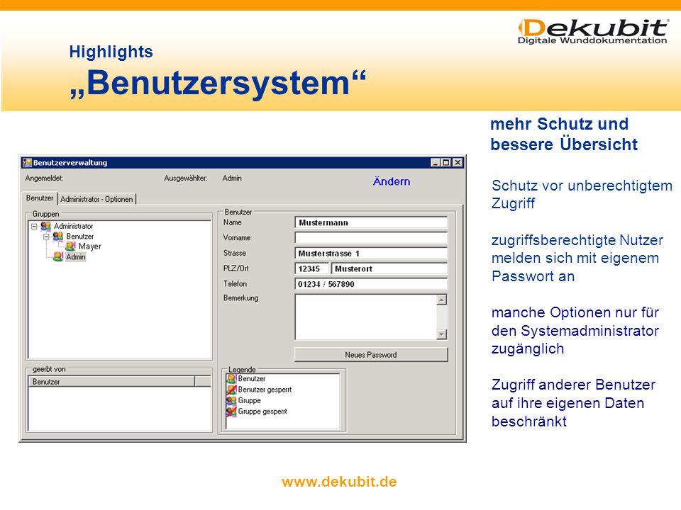 """Highlights """"Benutzersystem"""