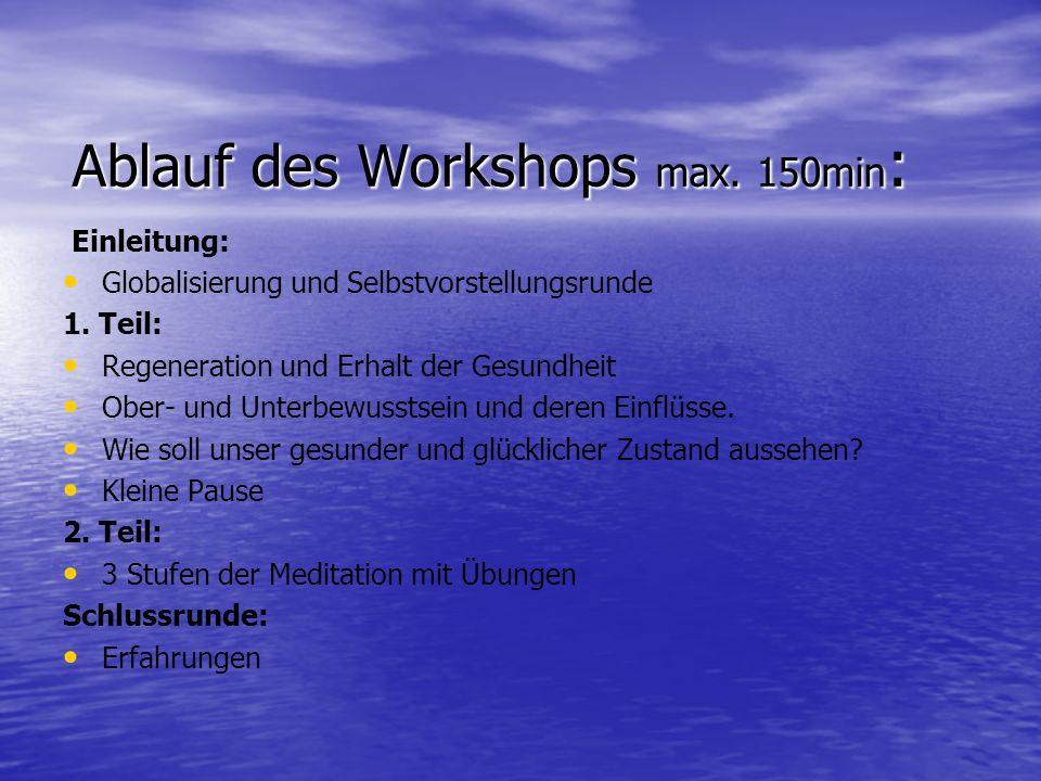 Ablauf des Workshops max. 150min: