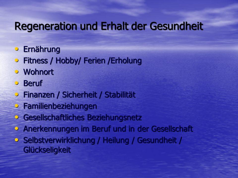 Regeneration und Erhalt der Gesundheit
