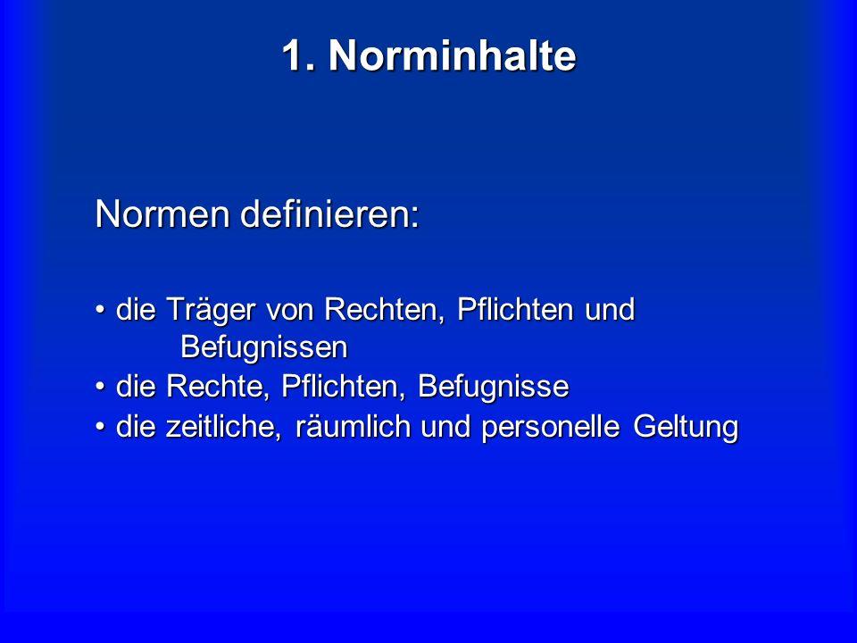 1. Norminhalte Normen definieren: