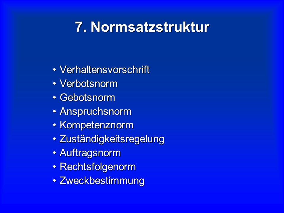7. Normsatzstruktur Verhaltensvorschrift Verbotsnorm Gebotsnorm