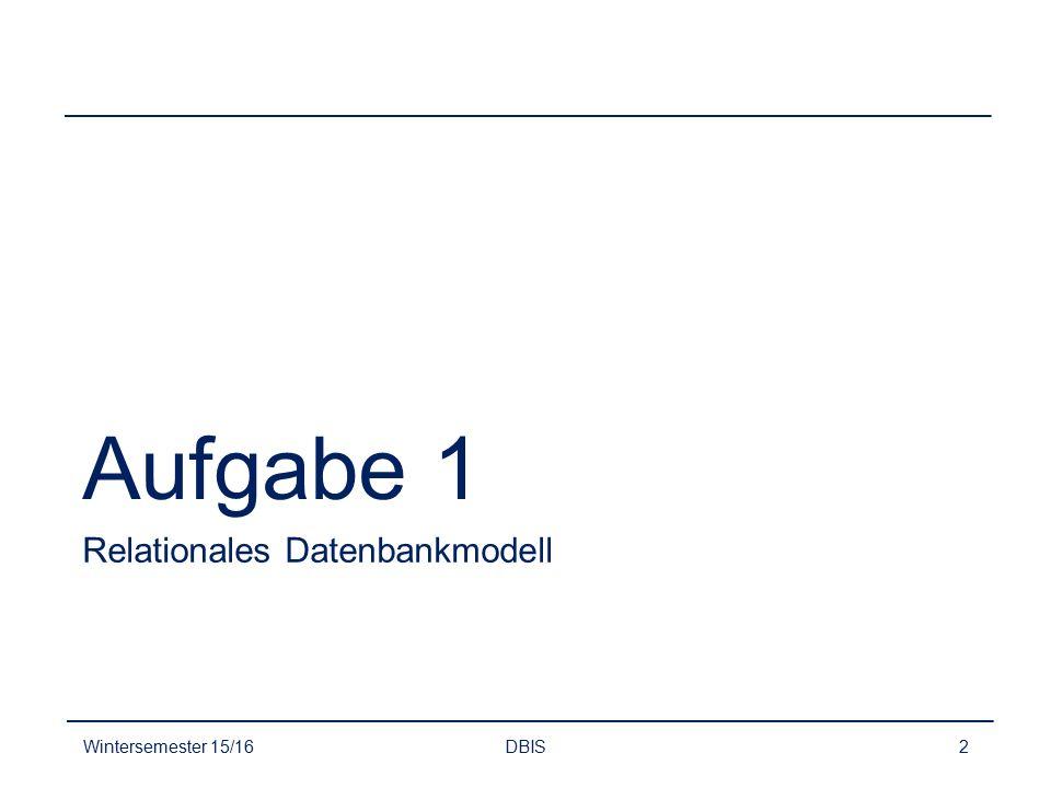 Aufgabe 1 Relationales Datenbankmodell Wintersemester 15/16 DBIS