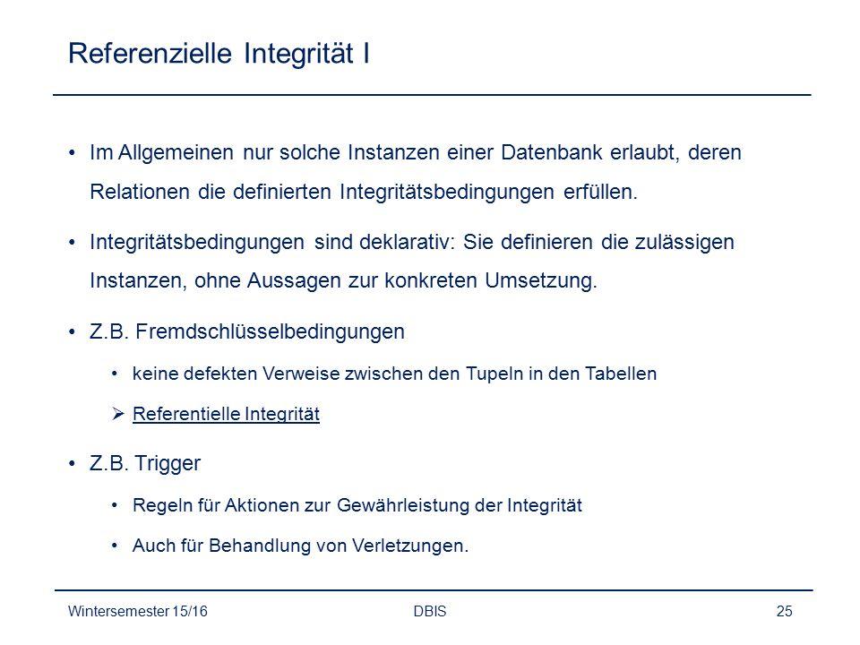 Referenzielle Integrität I