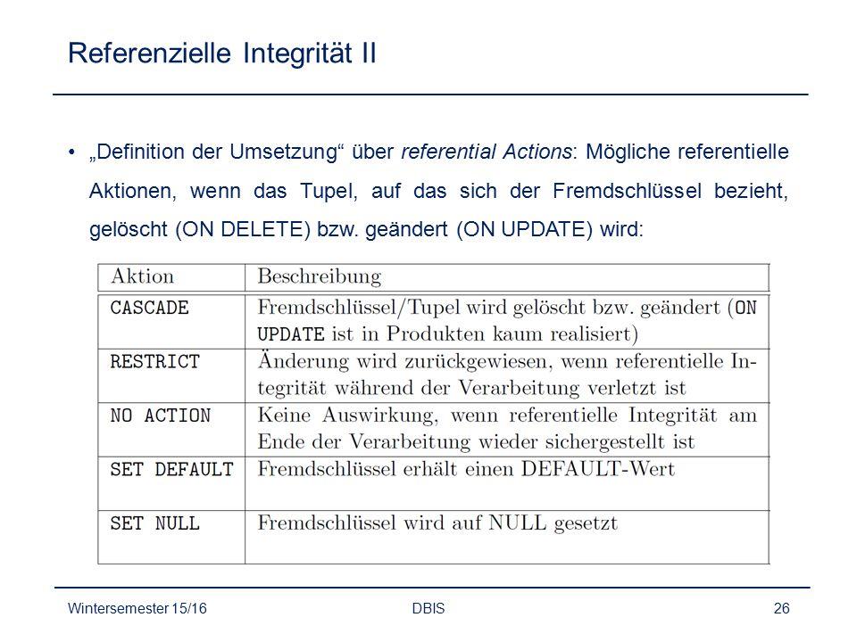 Referenzielle Integrität II