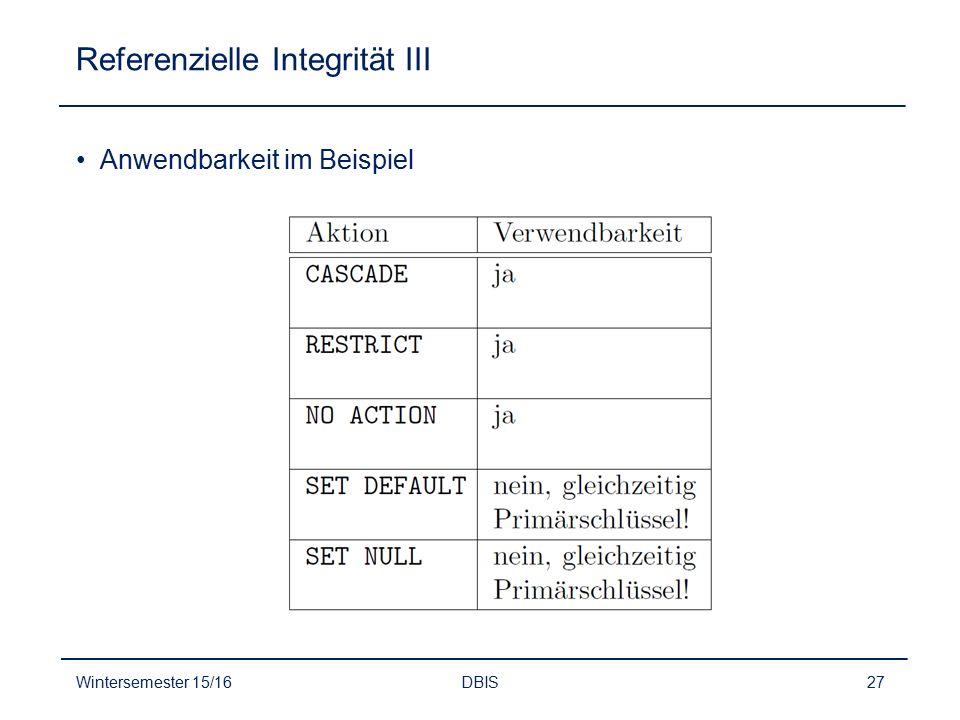 Referenzielle Integrität III