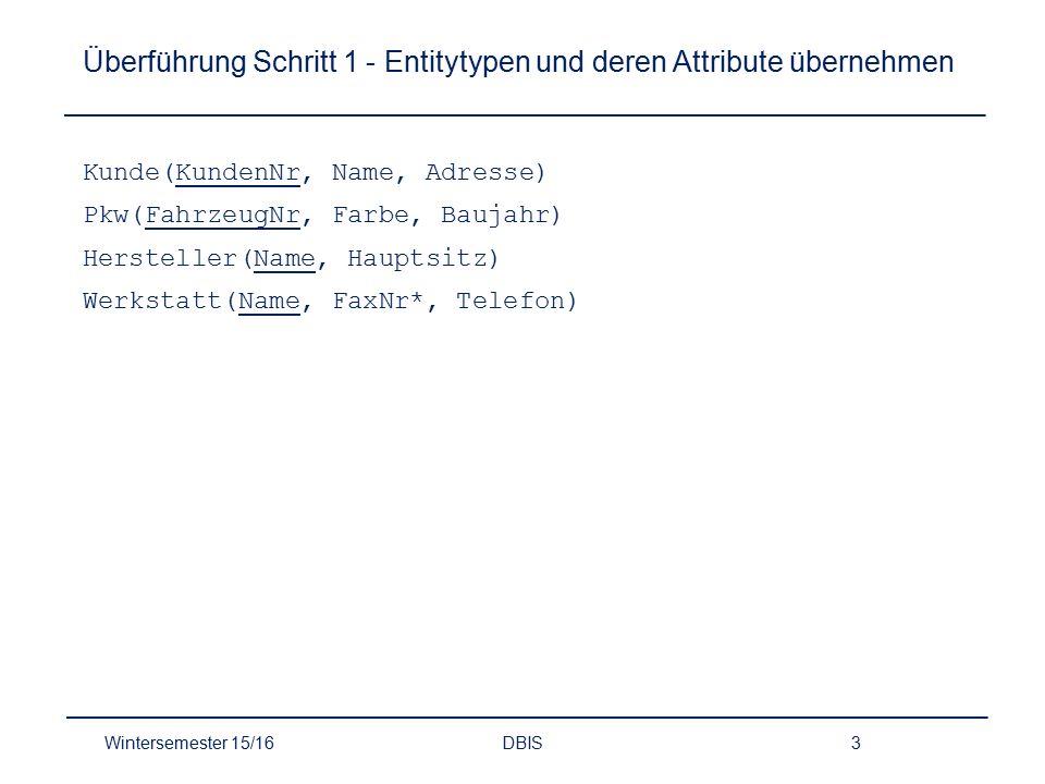 Überführung Schritt 1 - Entitytypen und deren Attribute übernehmen