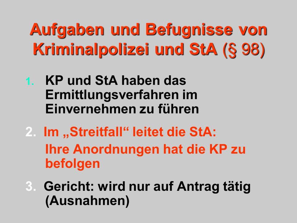 Aufgaben und Befugnisse von Kriminalpolizei und StA (§ 98)