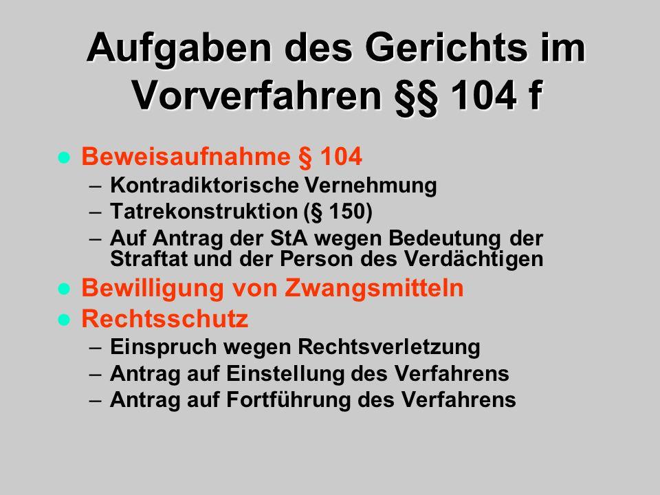Aufgaben des Gerichts im Vorverfahren §§ 104 f