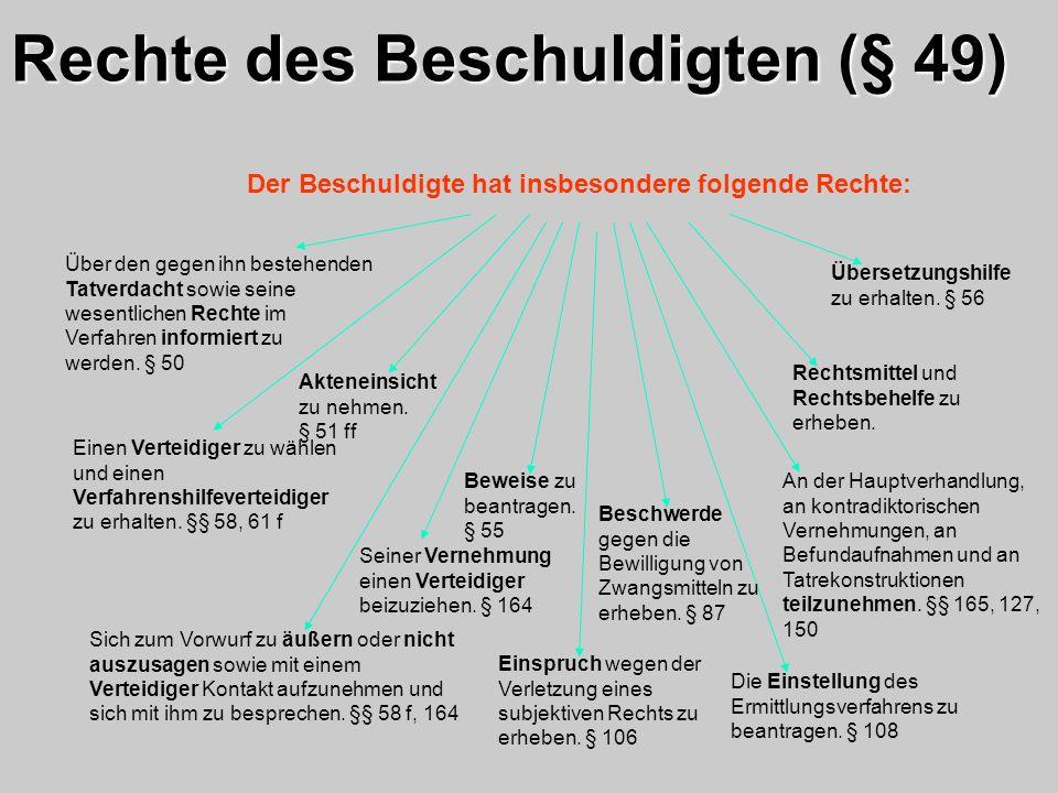 Rechte des Beschuldigten (§ 49)