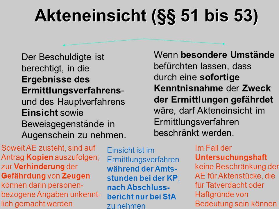 Akteneinsicht (§§ 51 bis 53)