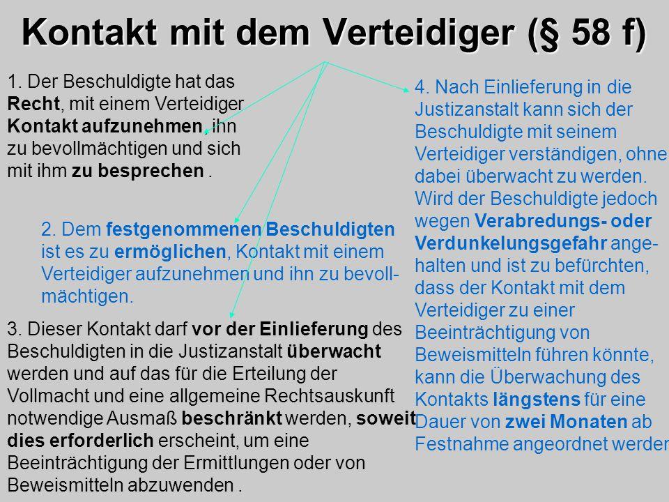 Kontakt mit dem Verteidiger (§ 58 f)