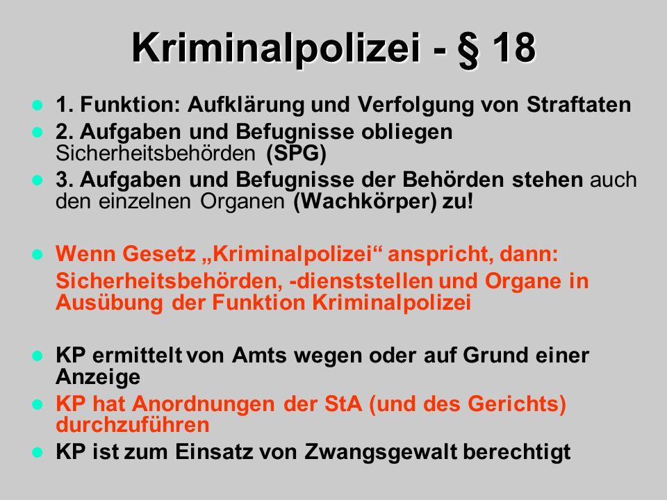 Kriminalpolizei - § 18 1. Funktion: Aufklärung und Verfolgung von Straftaten. 2. Aufgaben und Befugnisse obliegen Sicherheitsbehörden (SPG)