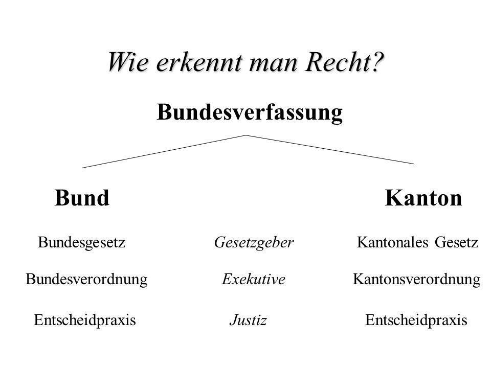 Wie erkennt man Recht Bundesverfassung Bund Kanton