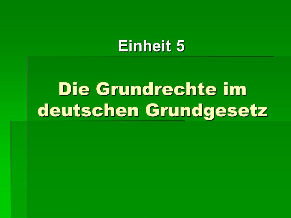 Die Grundrechte im deutschen Grundgesetz