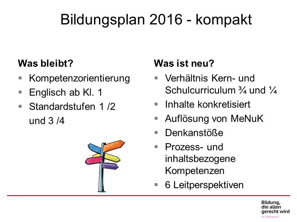 Bildungsplan 2016 Bildungsplan 2016 - kompakt Was bleibt Was ist neu