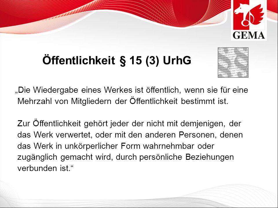 Öffentlichkeit § 15 (3) UrhG