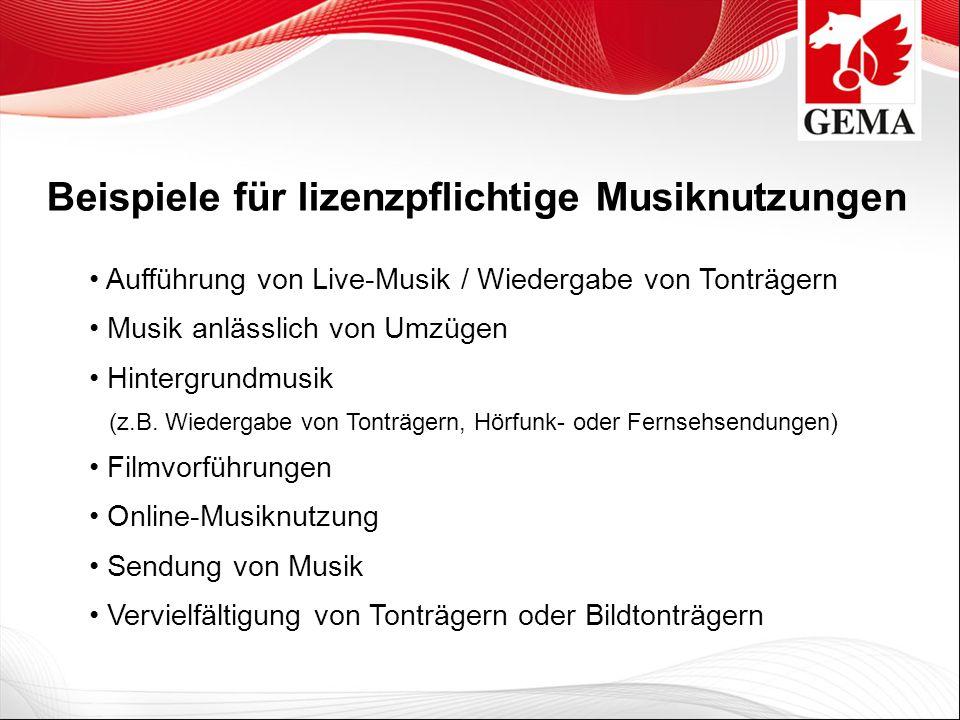 Beispiele für lizenzpflichtige Musiknutzungen