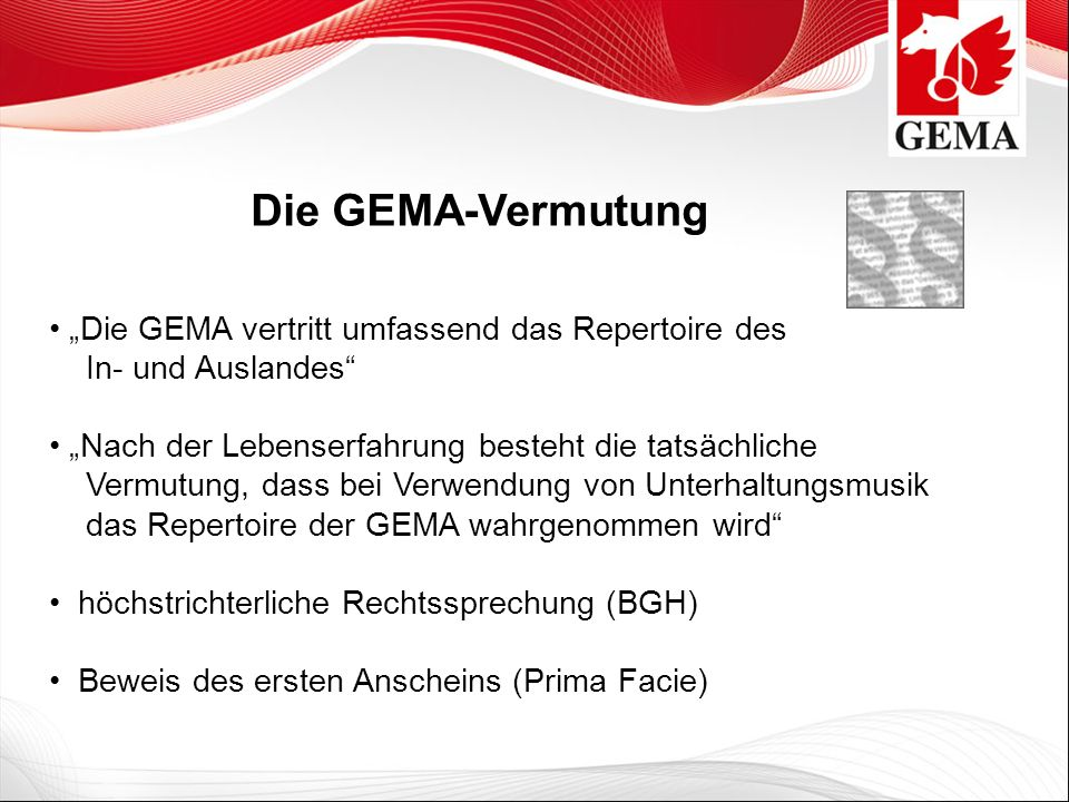 """Die GEMA-Vermutung """"Die GEMA vertritt umfassend das Repertoire des In- und Auslandes"""