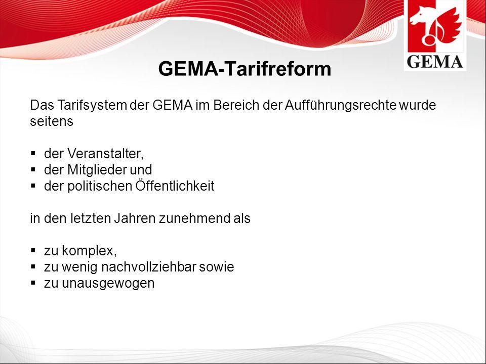 GEMA-Tarifreform Das Tarifsystem der GEMA im Bereich der Aufführungsrechte wurde seitens. der Veranstalter,