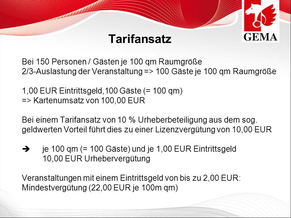 Tarifansatz Bei 150 Personen / Gästen je 100 qm Raumgröße 2/3-Auslastung der Veranstaltung => 100 Gäste je 100 qm Raumgröße.