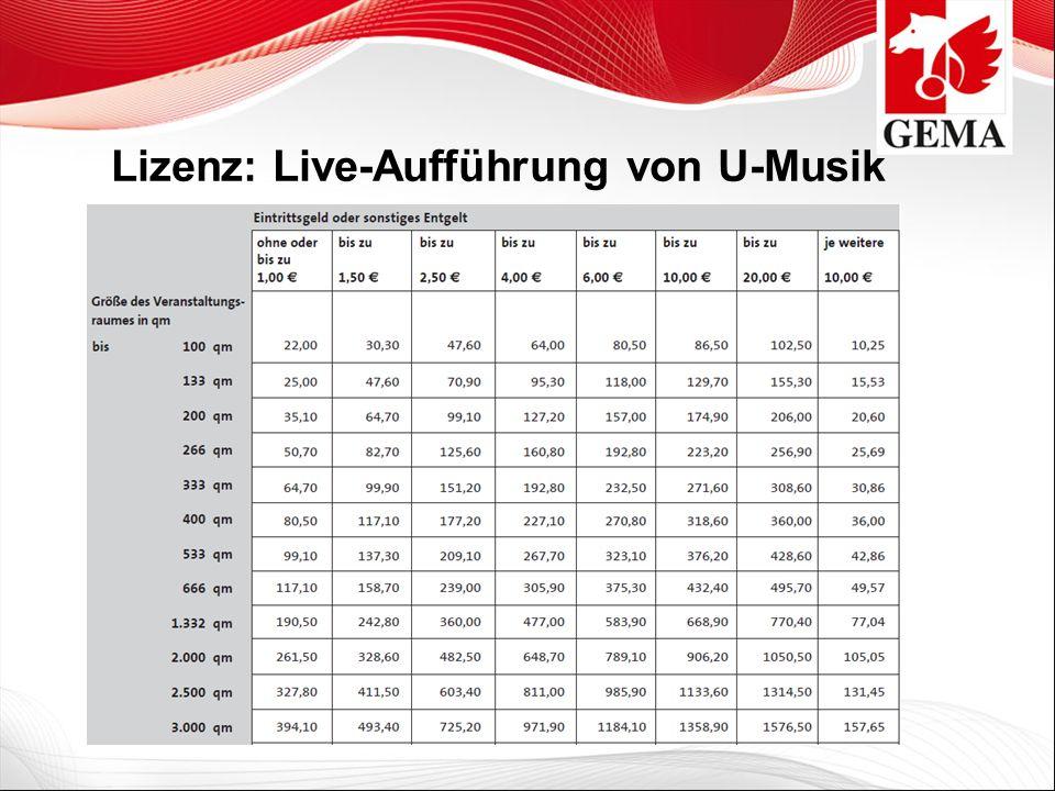 Lizenz: Live-Aufführung von U-Musik
