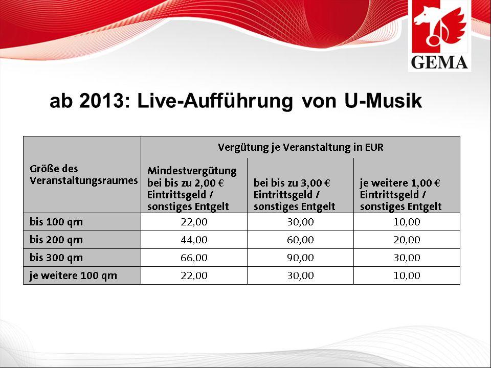 ab 2013: Live-Aufführung von U-Musik