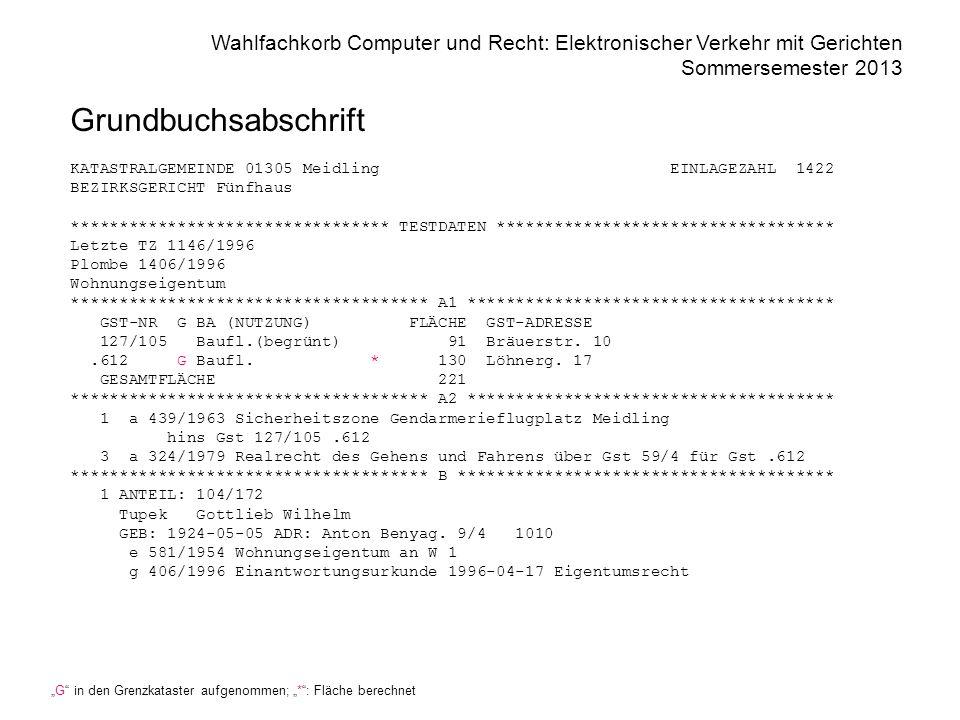 Grundbuchsabschrift KATASTRALGEMEINDE 01305 Meidling EINLAGEZAHL 1422