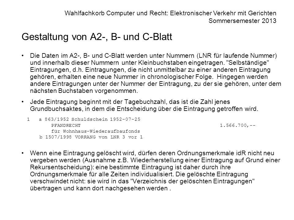 Gestaltung von A2-, B- und C-Blatt