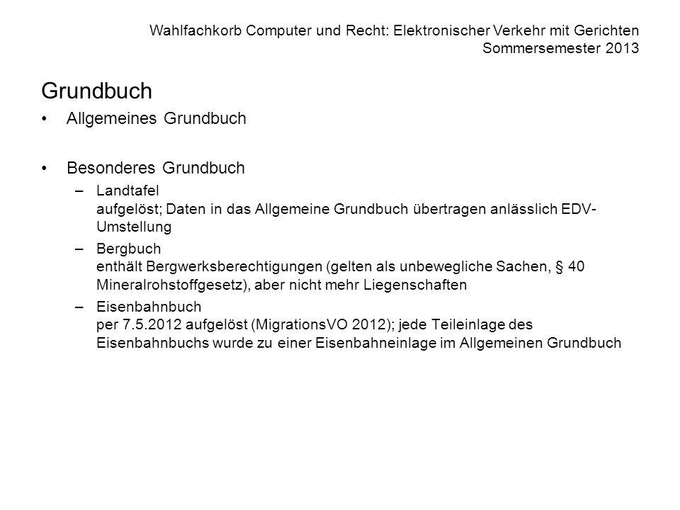 Grundbuch Allgemeines Grundbuch Besonderes Grundbuch