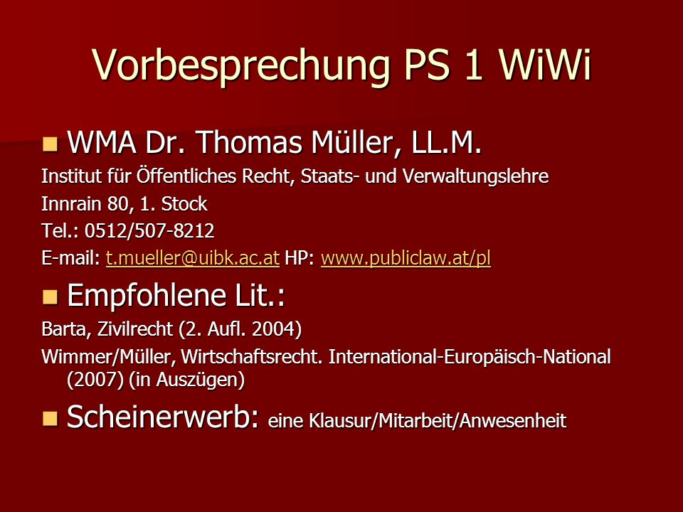 Vorbesprechung PS 1 WiWi