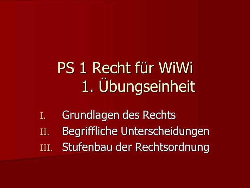 PS 1 Recht für WiWi 1. Übungseinheit