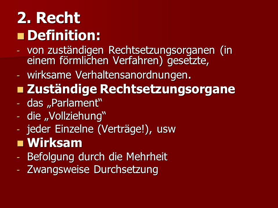 2. Recht Definition: Zuständige Rechtsetzungsorgane Wirksam