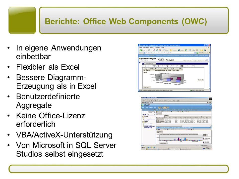 Berichte: Office Web Components (OWC)