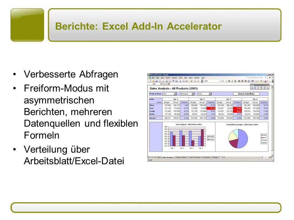 Berichte: Excel Add-In Accelerator