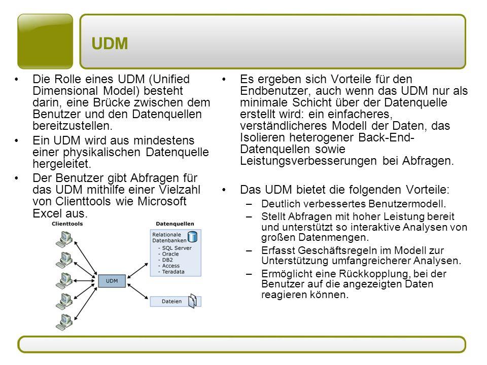 UDM Die Rolle eines UDM (Unified Dimensional Model) besteht darin, eine Brücke zwischen dem Benutzer und den Datenquellen bereitzustellen.