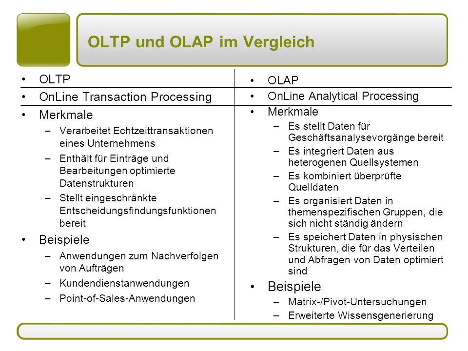 OLTP und OLAP im Vergleich