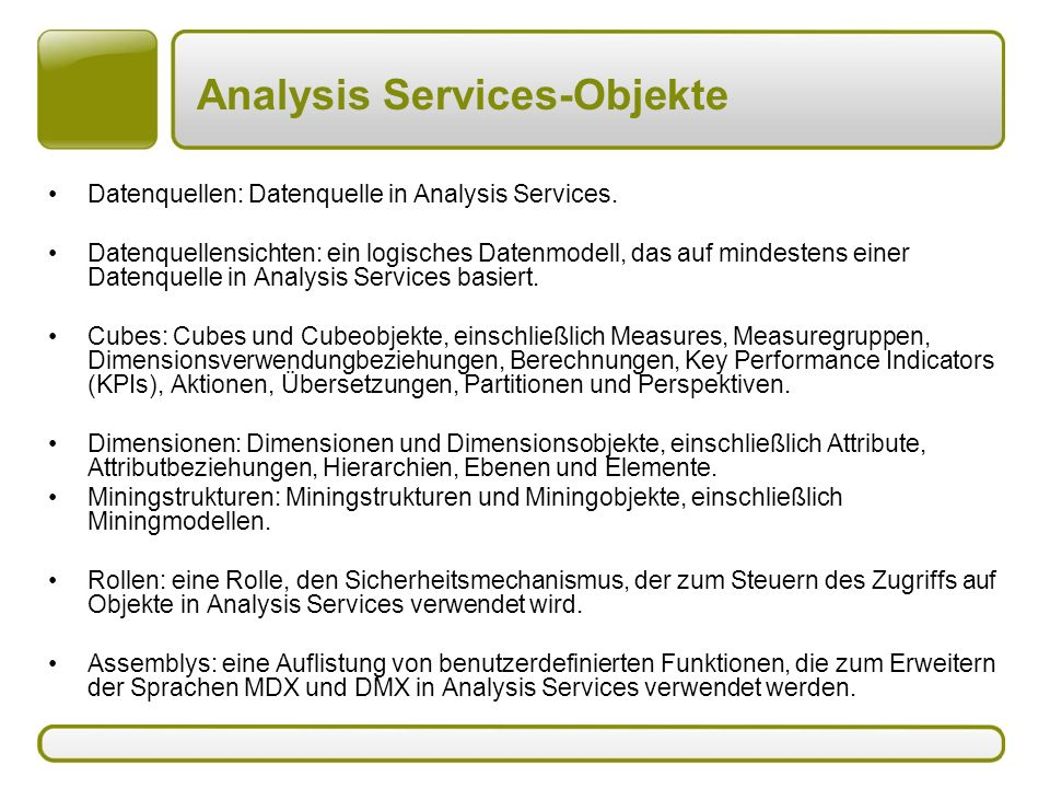 Analysis Services-Objekte