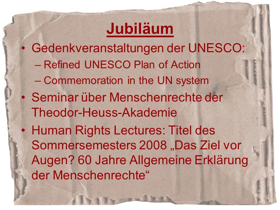 Jubiläum Gedenkveranstaltungen der UNESCO:
