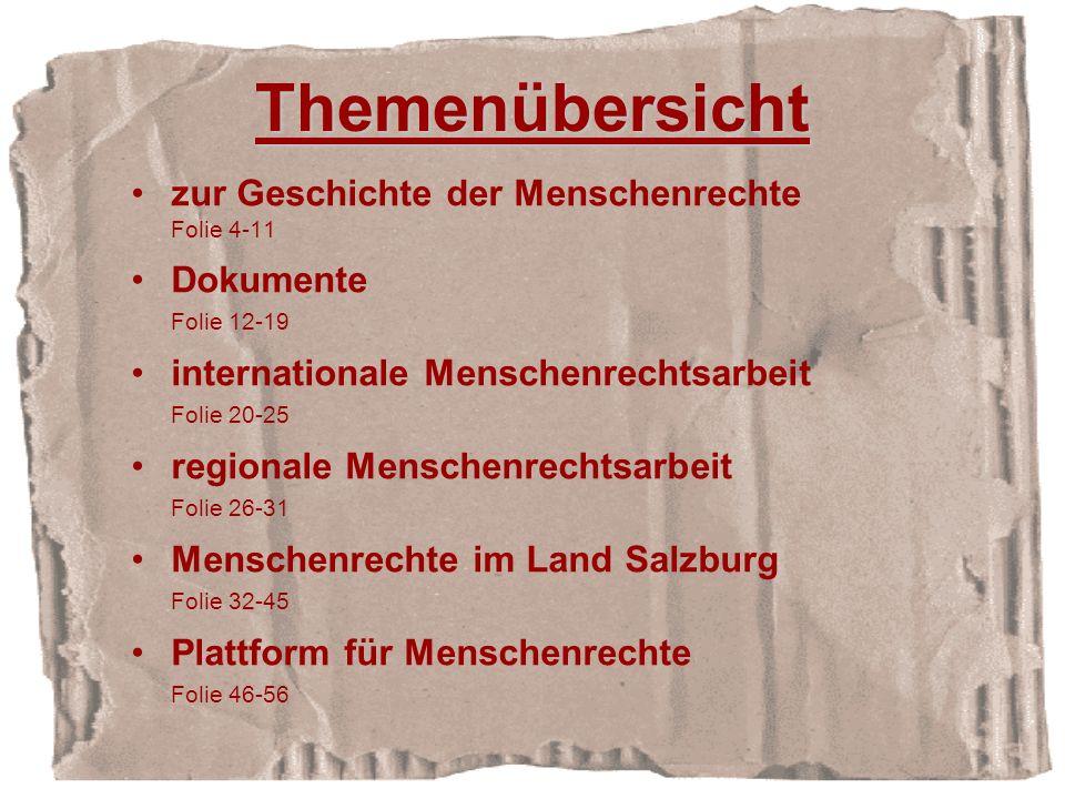 Themenübersicht zur Geschichte der Menschenrechte Dokumente