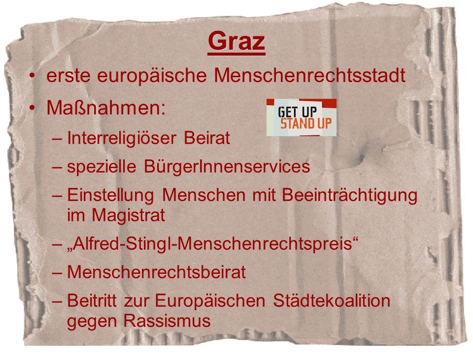 Graz erste europäische Menschenrechtsstadt Maßnahmen: