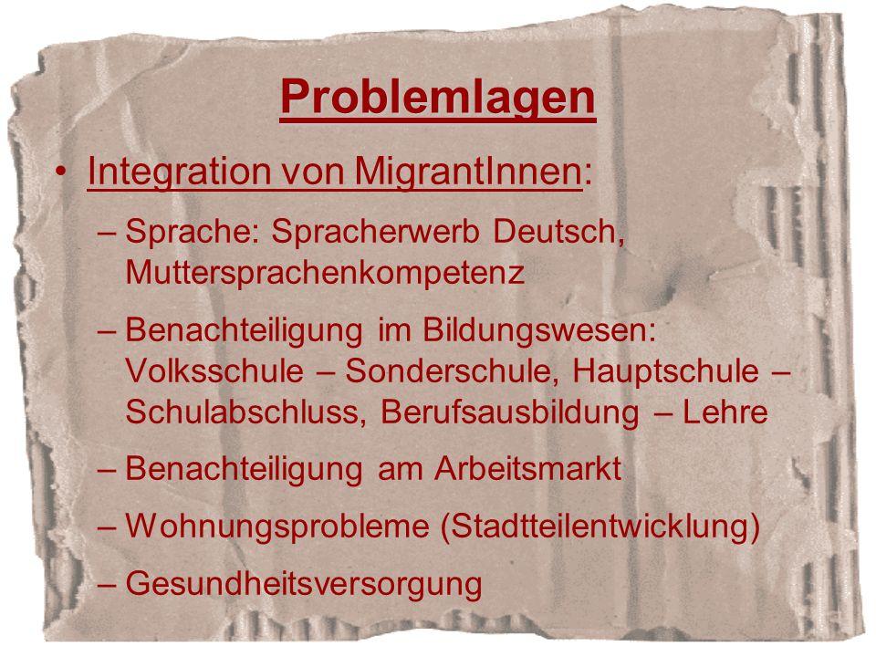 Problemlagen Integration von MigrantInnen: