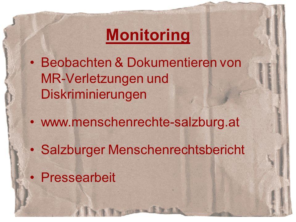 Monitoring Beobachten & Dokumentieren von MR-Verletzungen und Diskriminierungen. www.menschenrechte-salzburg.at.