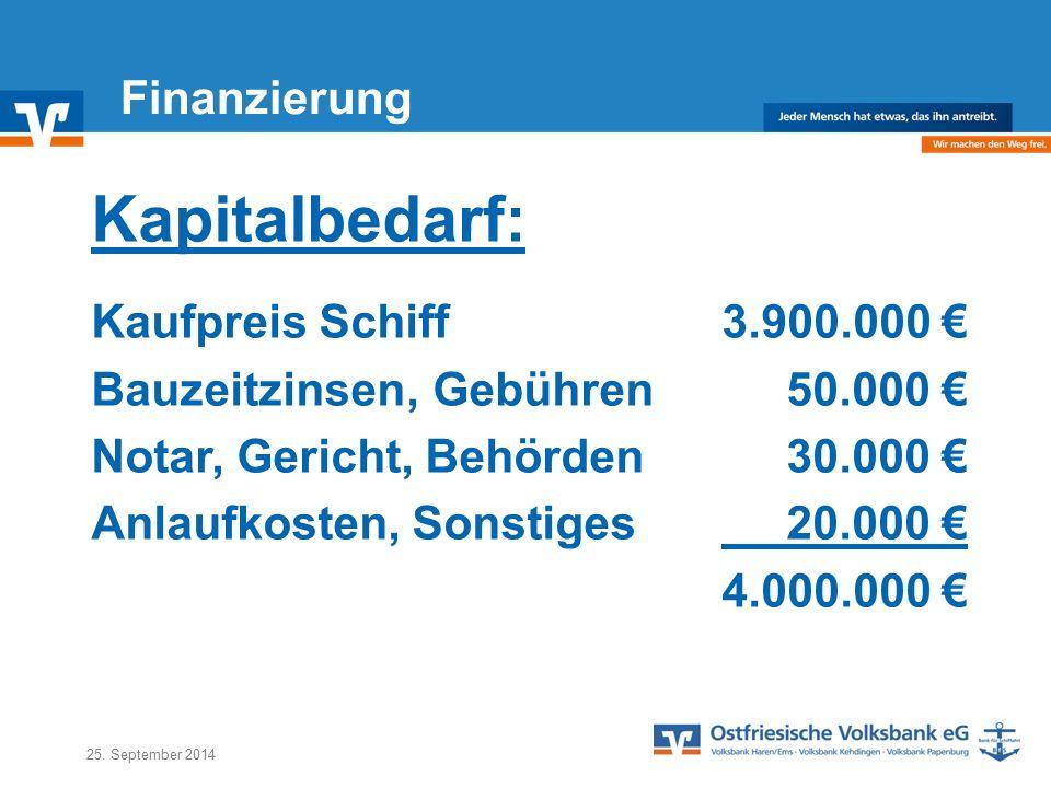 Kapitalbedarf: Finanzierung Kaufpreis Schiff 3.900.000 €