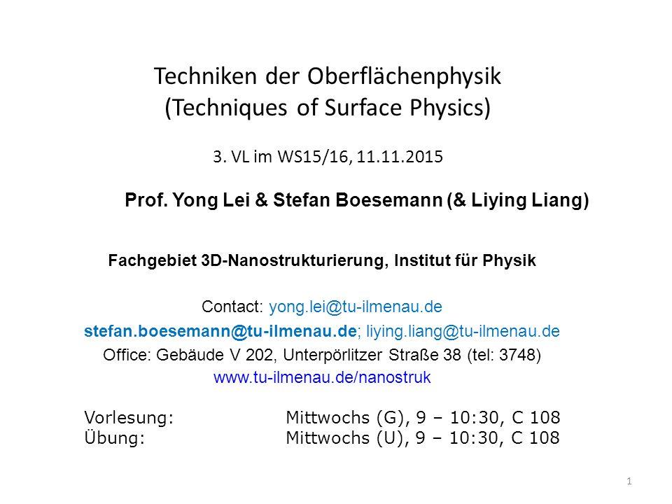 Fachgebiet 3D-Nanostrukturierung, Institut für Physik