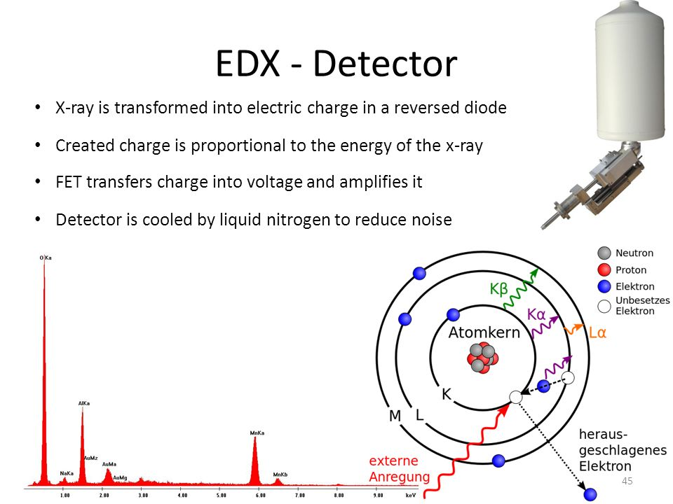 EDX - Detector X-ray is transformed into electric charge in a reversed diode. Created charge is proportional to the energy of the x-ray.