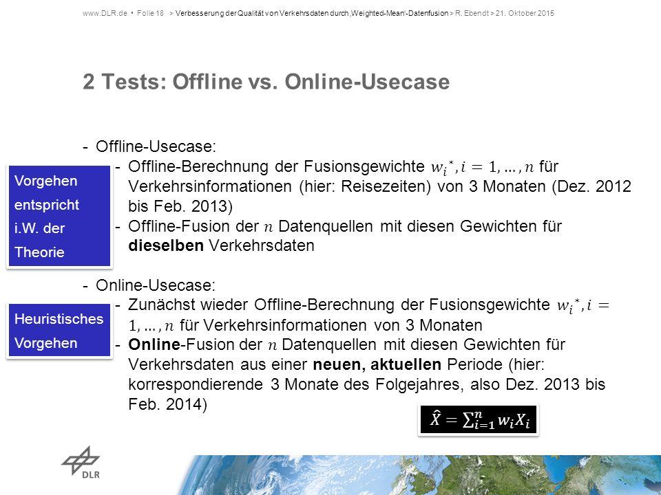 2 Tests: Offline vs. Online-Usecase