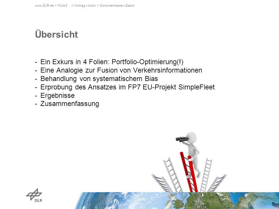 Übersicht Ein Exkurs in 4 Folien: Portfolio-Optimierung(!)