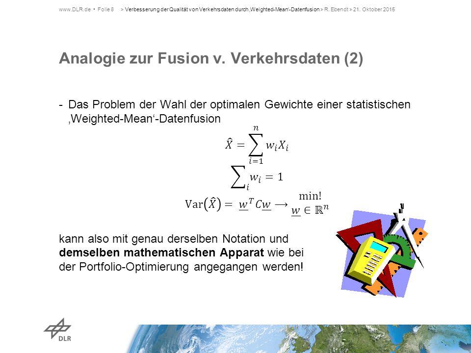 Analogie zur Fusion v. Verkehrsdaten (2)