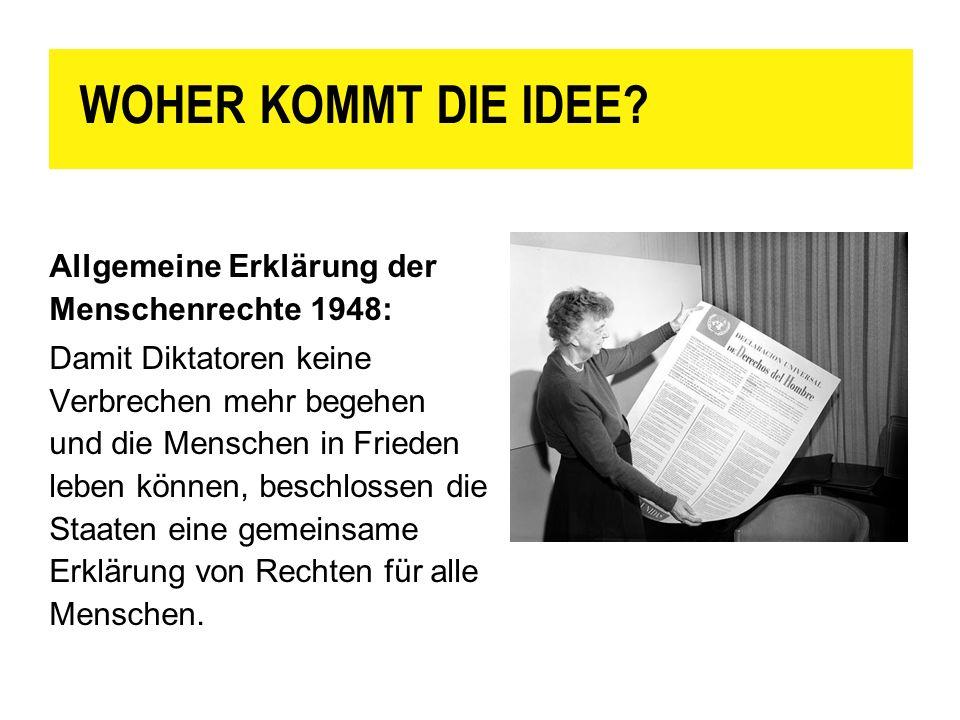 WOHER KOMMT DIE IDEE Allgemeine Erklärung der Menschenrechte 1948: