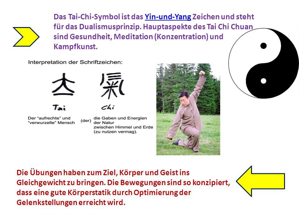 Das Tai-Chi-Symbol ist das Yin-und-Yang Zeichen und steht für das Dualismusprinzip. Hauptaspekte des Tai Chi Chuan sind Gesundheit, Meditation (Konzentration) und Kampfkunst.